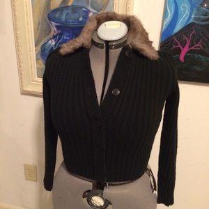 Sweaters - Real Fur Collar Sweater